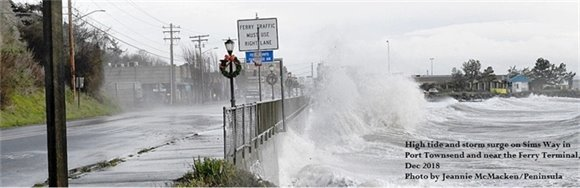 High tide and storm surge on Sima Way in Port Townsend