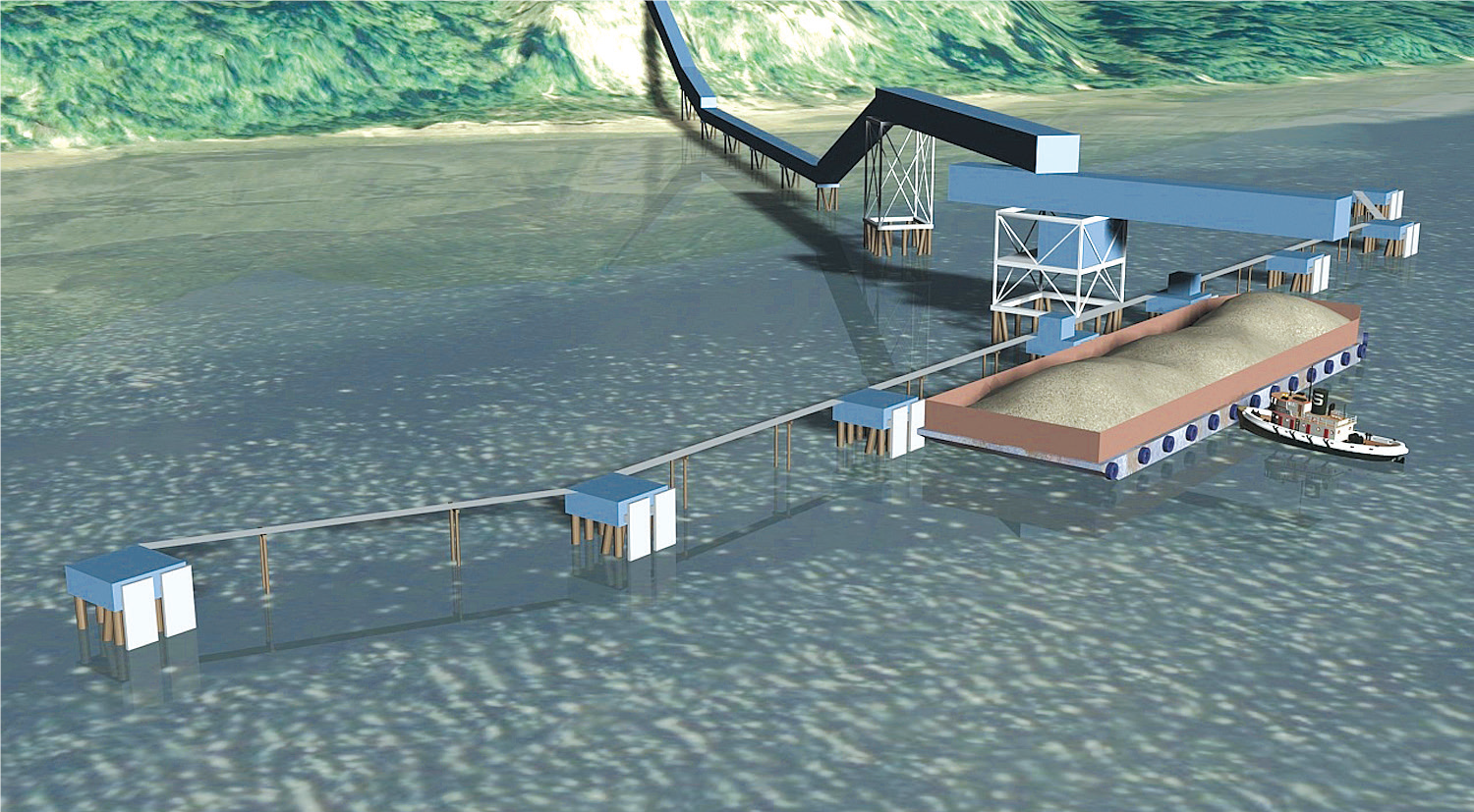 Graphic Rendering of the Proposed Pier and Barge-Loading Facility on Hood Canal